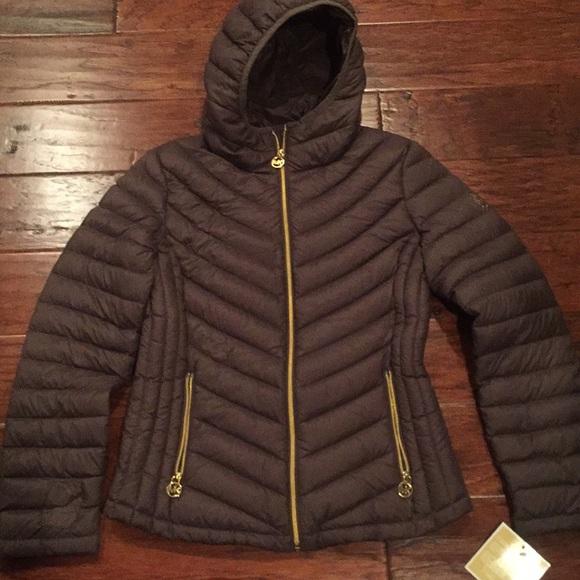 5f484ffbcc93 Michael Kors chocolate brown puffy jacket